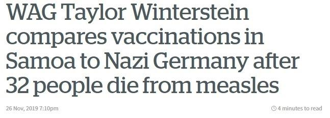 Headline about anti-vaccine activist.
